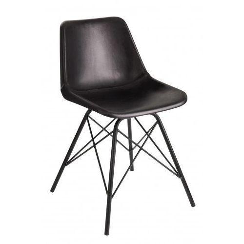 J- line Krzesło skórzane loft czarne