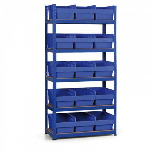 Regał z pojemnikami, 1800x900x400 mm, półki z mdf, pojemniki 15x c marki B2b partner