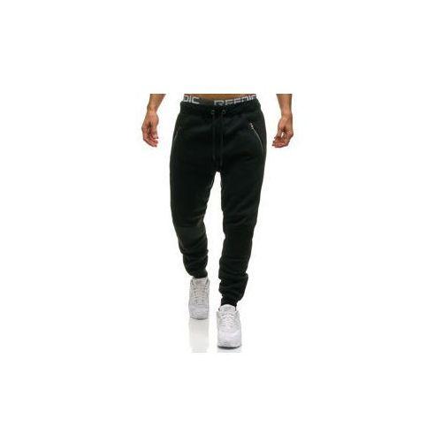 Spodnie męskie dresowe joggery czarne Denley 1937, kolor Czarny