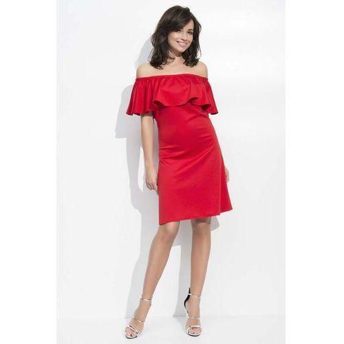Czerwona Sukienka Trapezowa Midi z Dekoltem Carmen, DNU49re