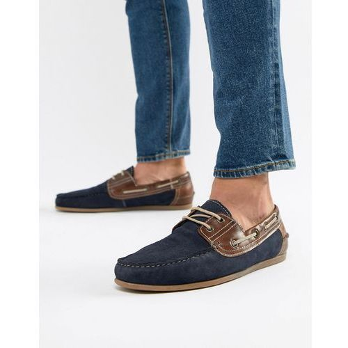 Red tape boat shoes in navy suede - navy