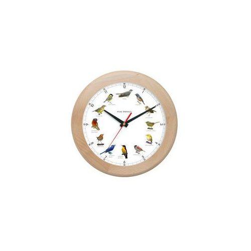 Zegar z głosami ptaków drewniany rondo #1A