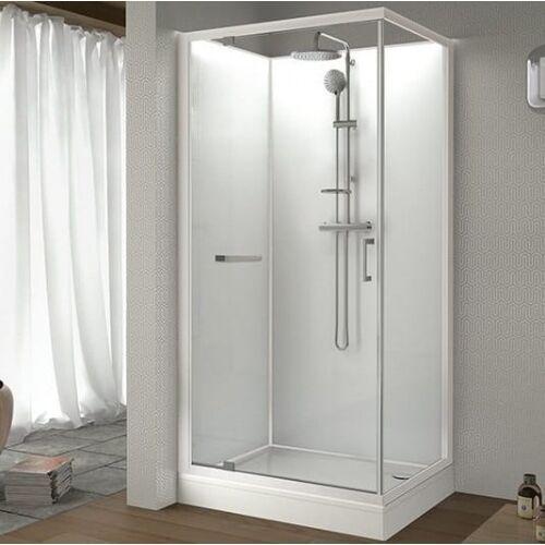Sanplast classic ii kabina prysznicowa 90x120 cm z brodzikiem i zestawem prysznicowym szkło przezroczyste/białe 602-011-0271-01-4b1 (5907805373047)