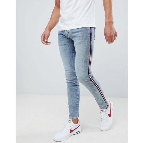 slim jeans with side stripe in light wash blue - blue, River island