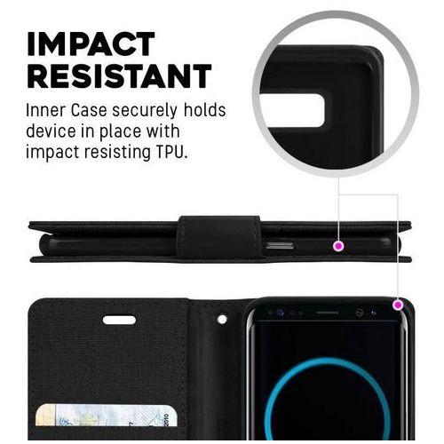 Mercury Canvas Diary - Etui Samsung Galaxy S8 z kieszeniami na karty + stand up (czarny), kolor czarny