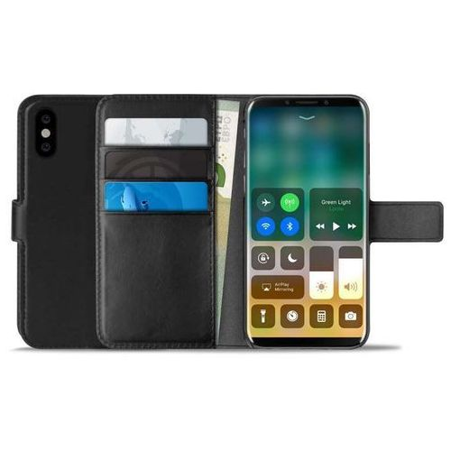PURO Booklet Wallet Case - Etui iPhone X z kieszeniami na karty + stand up (czarny) (8033830194306)