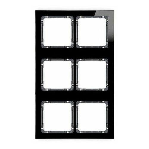 DECO Ramka modułowa 6 krotna (2 poziom, 3 pion) - efekt szkła (ramka czarna spód grafitowy) czarny 12-11-DRSM-2x3