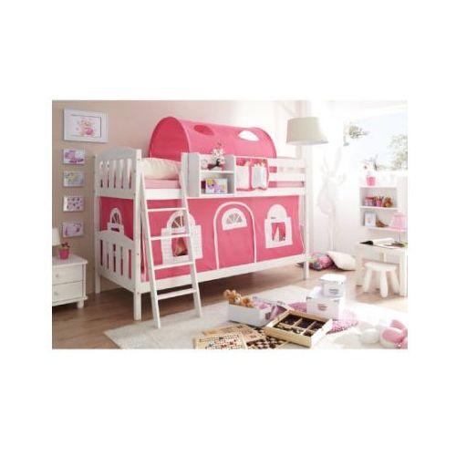 Ticaa łóżko piętrowe erni country-v sosna biała domek/różowy-biały marki Ticaa kindermöbel