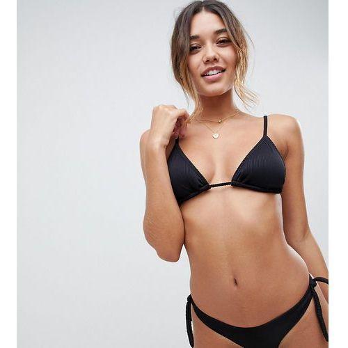 mix & match exclusive ribbed triangle bikini top in black - black marki South beach