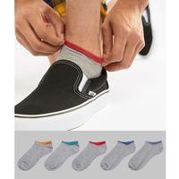 ASOS DESIGN trainer socks in grey marl with retro contrast tipping 5 pack - Grey