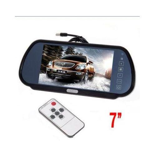 """Samochodowy monitor lcd 7"""" w lusterku, do kamery cofania... + 2 kanały video + menu pl marki Viaken"""