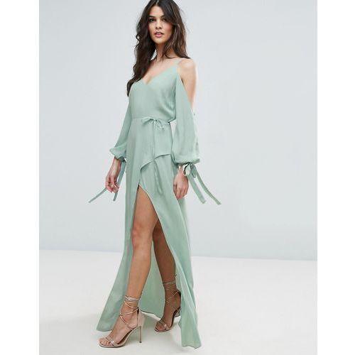 cold shoulder long sleeve maxi dress - green, Asos