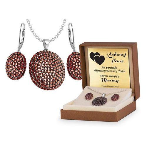 Murrano Srebrny komplet zestaw biżuterii 925 z grawerem ys18