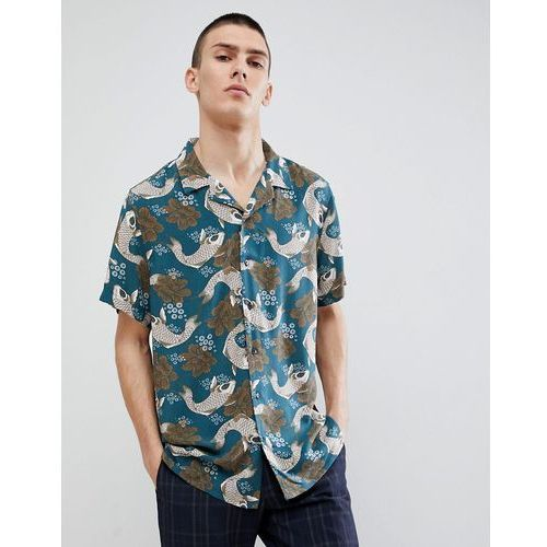 New look regular fit shirt with floral fish print in turquoise - blue