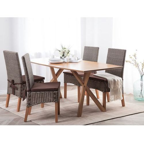 Beliani Zestaw 2 krzeseł rattanowych brązowe andes (4260624117171)