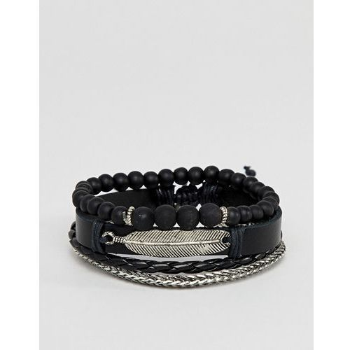 Asos design leather and chain bracelet pack in black with feather - black