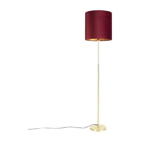 Qazqa Lampa podłogowa regulowana złota/mosiądz klosz welurowy czerwony 40cm - parte