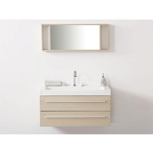 Meble łazienkowe beżowe - szuflady - umywalka - lustro - barcelona marki Beliani
