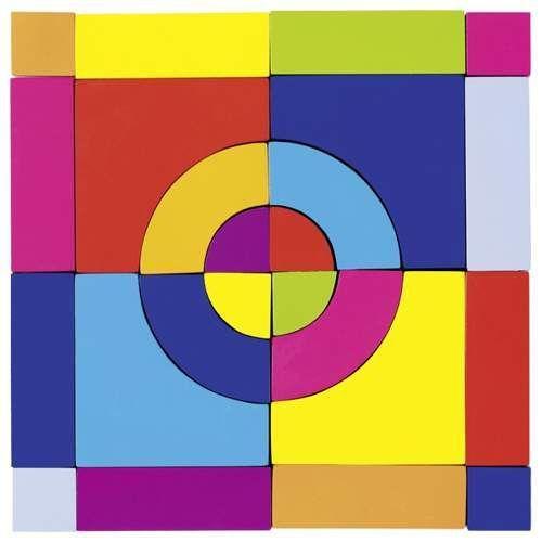 Pudełko drewnianych kolorowych klocków i puzzle. 24 elelmenty