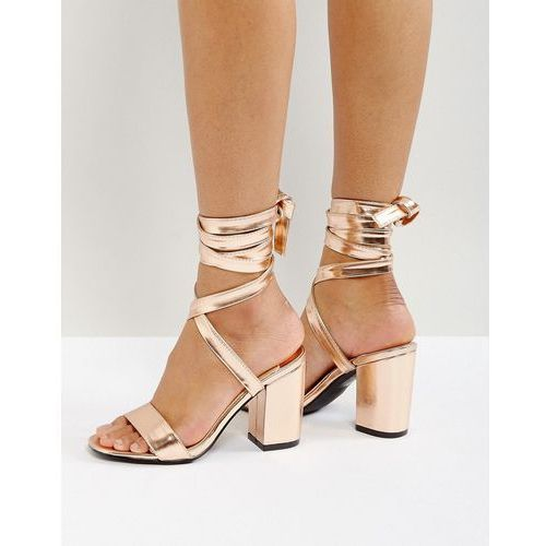 Park lane tie ankle block metallic heel sandals - copper