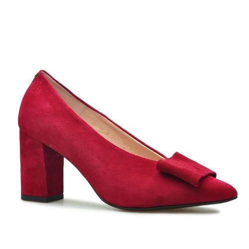 Czółenka Sala 9414/1432 Czerwone zamsz, kolor czerwony