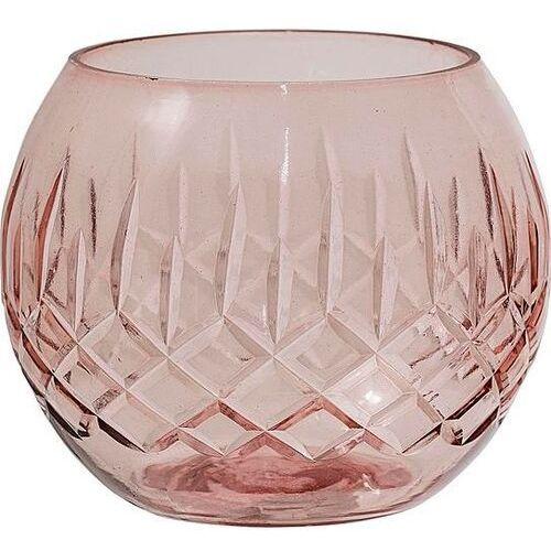 Świecznik bloomingville kula 8 cm różowy szklany