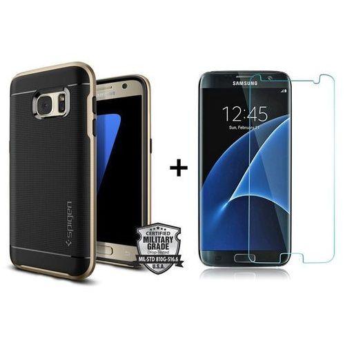 Zestaw | Obudowa Spigen Neo Hybrid Carbon Black Champagne Gold + Szkło ochronne Perfect Glass na cały ekran dla modelu Samsung Galaxy S7