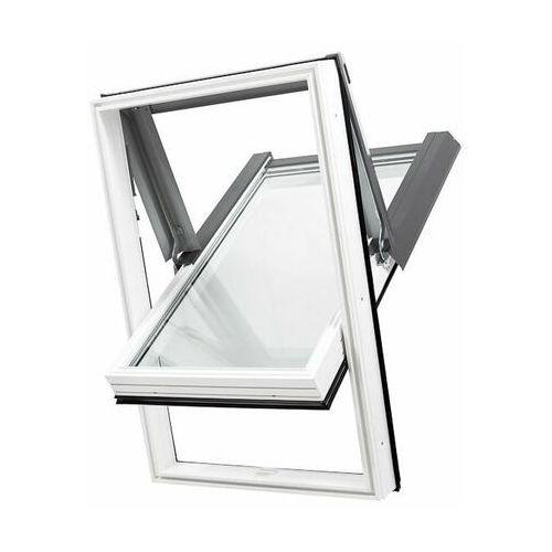 Dobroplast Okno dachowe skylight pcv 78x140 białe oblachowanie szare + kołnierz falisty zestaw