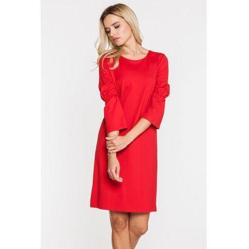 Czerwona sukienka z roszerzanymi rękawami - Jelonek, kolor czerwony