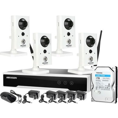 ZM12896 Hikvision Zestaw monitoringu bezprzewodowego Rejetstrator 8 kanałowy 4 kamery z mikrofonem i czujnikiem ruchu PIR WiFi Full HD Dysk 1TB