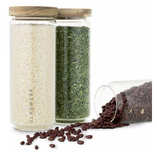 Klarstein glaswerk lovage słoiki do przechowywania żywności, 1,1 l, zestaw 3 sztuk, szkło borokrzemowe, pokrywka z drewna akacjowego, silikon (4270001364425)