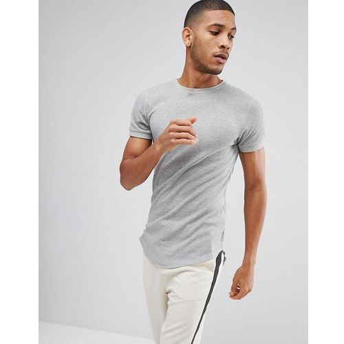 waffle t-shirt in muscle fit with curved hem - grey marki Bellfield