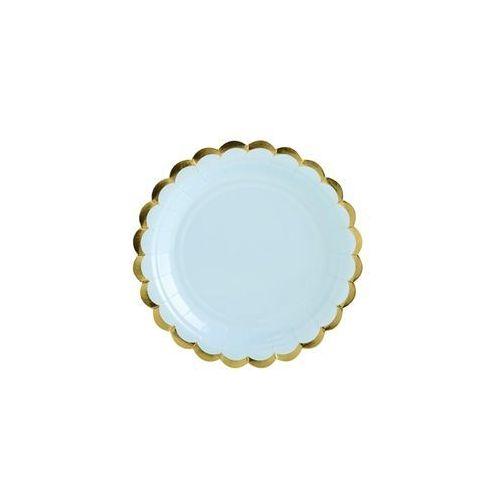 Talerzyki jasnoniebieskie ze złotymi brzegami - 18 cm - 6 szt. marki Party deco