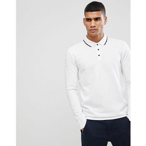 Selected Homme Long Sleeve Polo With Contrast Buttons And Piping Detail Collar - White