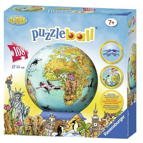 Ravensburger Dziecięca mapa świata Puzzleball 108 el.