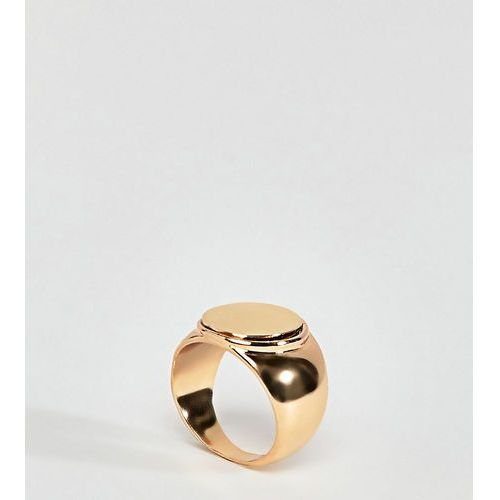 Reclaimed vintage inspired chunky signet ring - gold