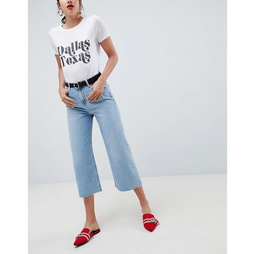 River Island alexa wide leg cropped jeans in blue - Blue, jeansy