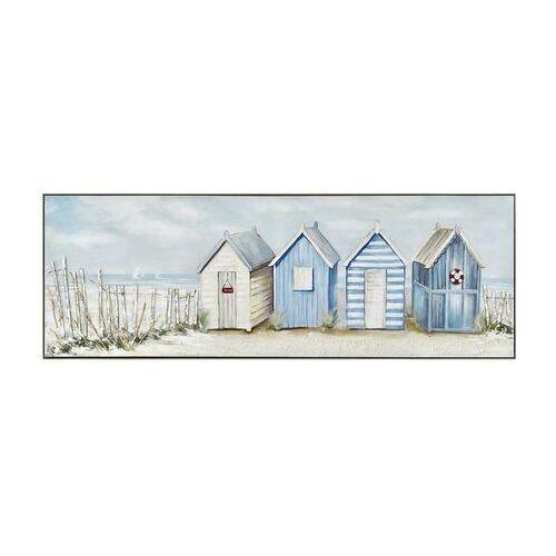Obraz olejny deauville malowany ręcznie, przedstawiający brzeg morza – 50 × 150 cm – kolor niebieski marki Vente-unique