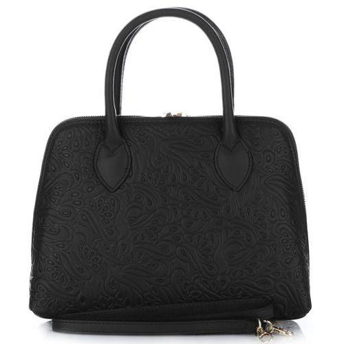 Genuine leather Klasyczna torebka skórzana włoski kuferek czarna (kolory)