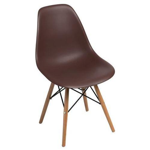 D2design Krzesło p016w pp brązowe, drewniane nogi (5902385702317)
