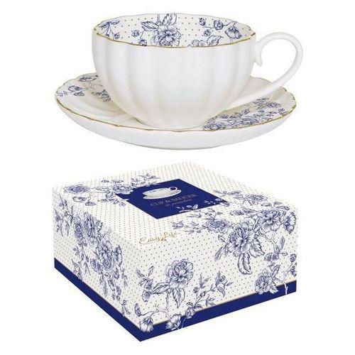 Filiżanka ze spodeczkiem Blue Peonies (w ozdobnym pudełku)