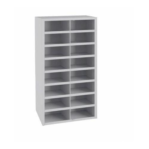 Metalowa szafka na sprzęt warsztowy z 16 skrytkami sfr 16/1 marki Malow