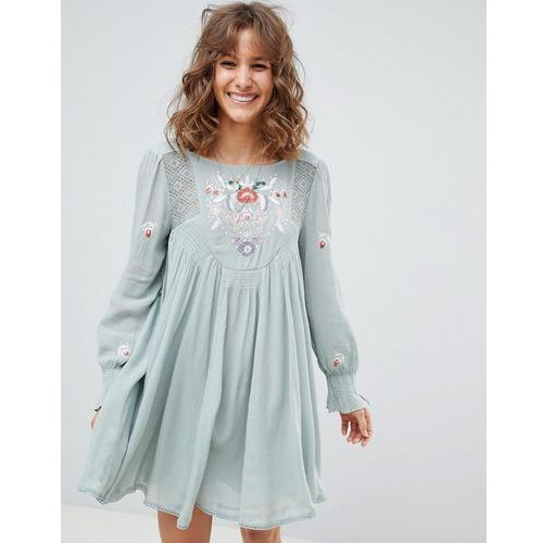 Free People mohave mini dress with embroidery - Green, kolor zielony