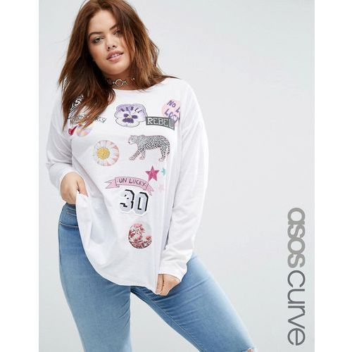 ASOS CURVE T-Shirt with Mix and Match Badge Print and Long Sleeves - Multi z kategorii Pozostała moda i styl
