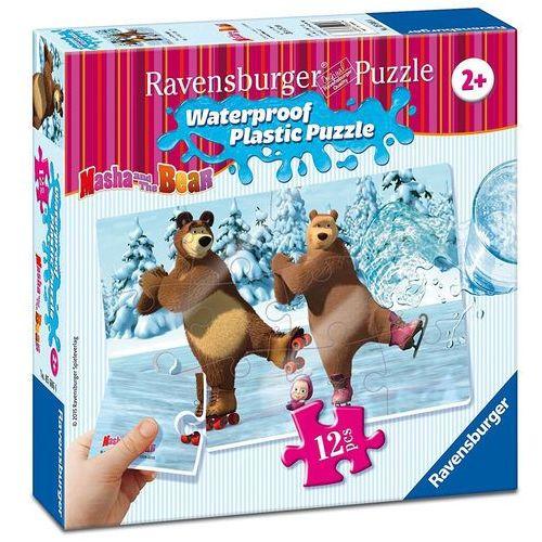 Puzzle plastikowe 12 elementów. masza i niedźwiedź. święto na lodzie + zakładka do książki gratis marki Ravensburger