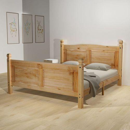 Vidaxl łóżko sosnowe + materac memory, w stylu meksykańskim, 140x200