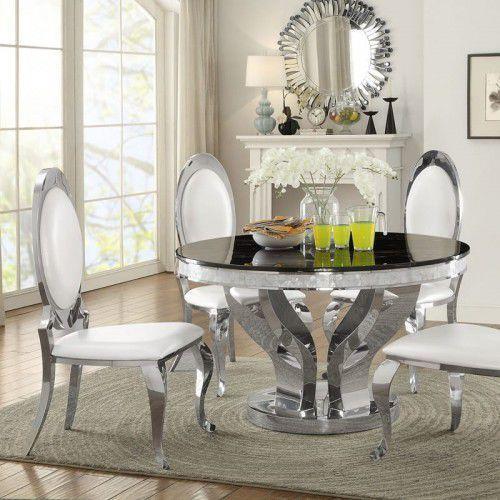 Bellacasa Stół glamour davson okrągły - stal szlachetna blat kamienny nowoczesny (5908273395623)