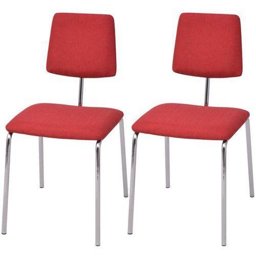 vidaXL Krzesła jadalniane materiałowe, czerwone, 2 szt., kolor czerwony