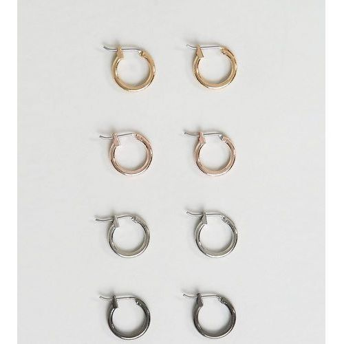 DesignB Hoop Earrings In 4 Pack Exclusive To ASOS - Multi