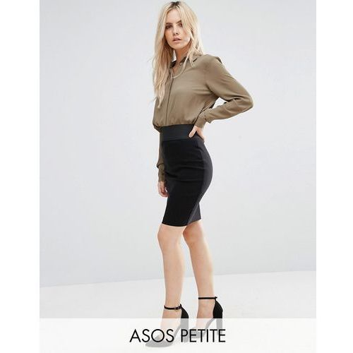 ASOS PETITE High Waisted Pencil Skirt with Elastic Detail - Black